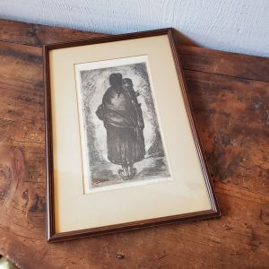 art 2 framed signed etching mother and child carl pappe vintage art